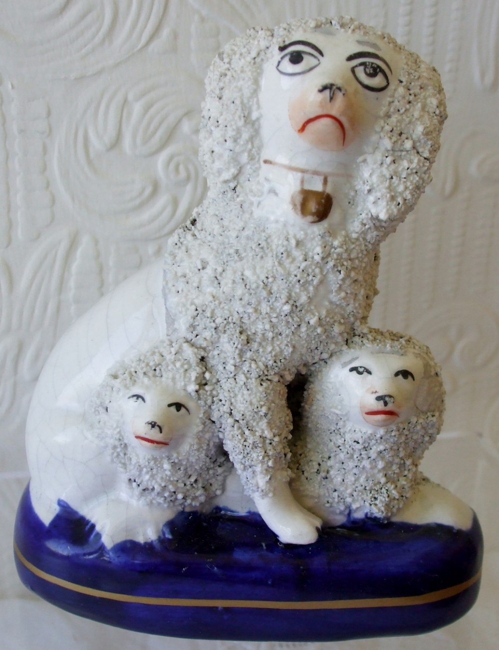 antique english victorian staffordshire pottery figure group poodles h2745