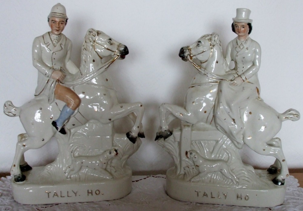 pair of antique english victorian staffordshire pottery equestrian figures tally ho