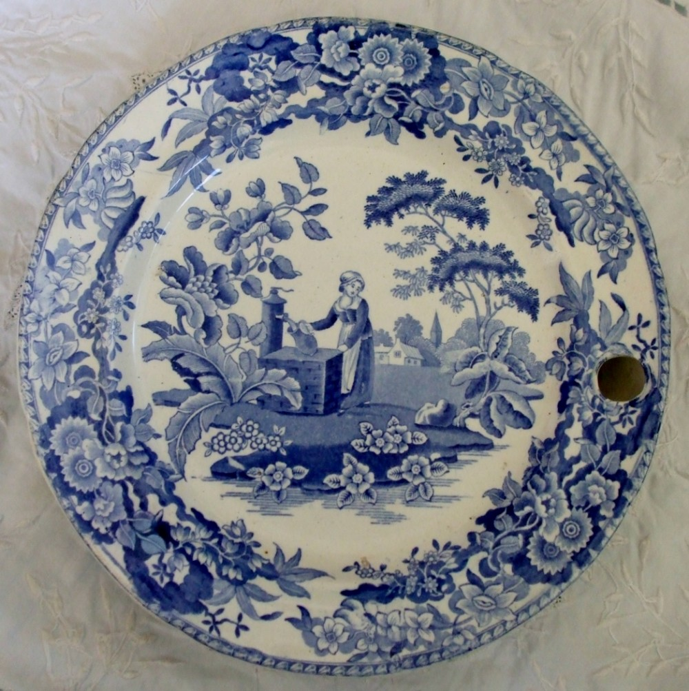 antique english victorian blue and white transfer girl at the well pattern pottery hotwater plate copeland garrett