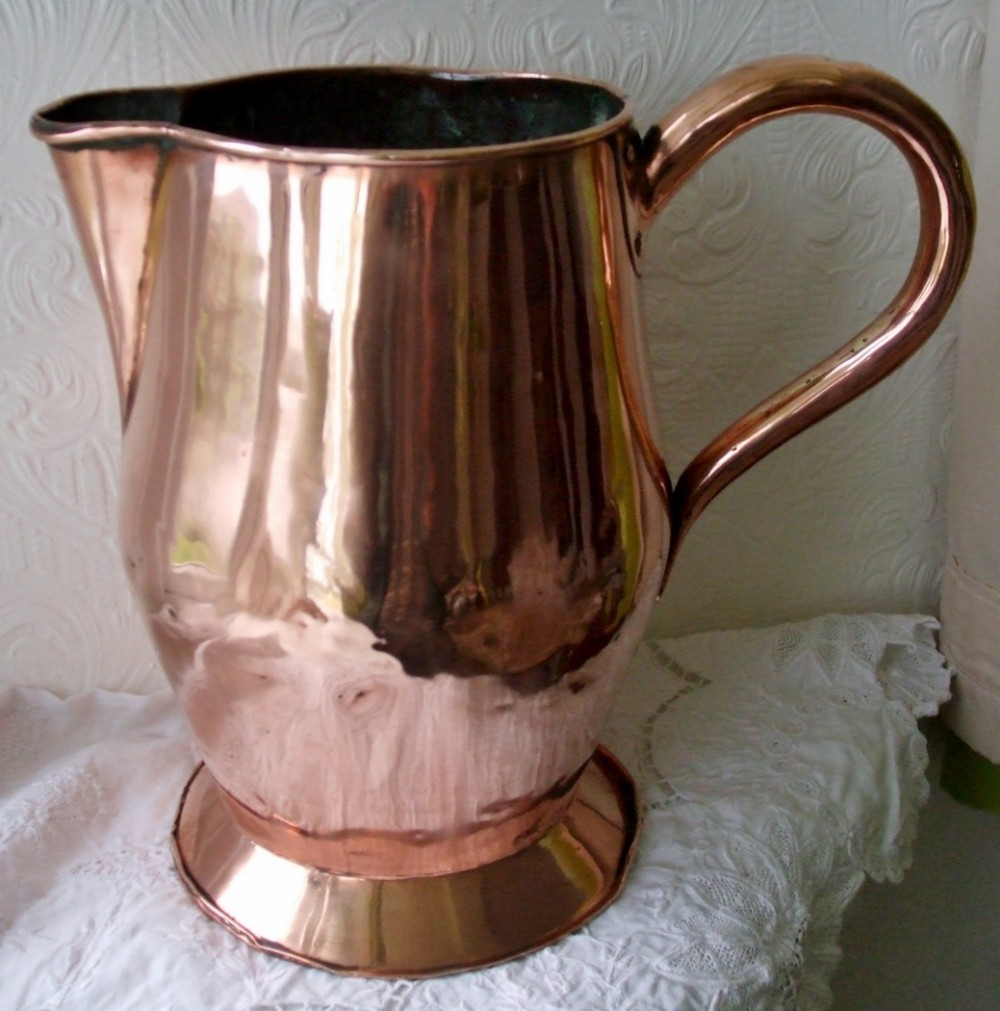antique english georgian 12 pint copper jug pitcher