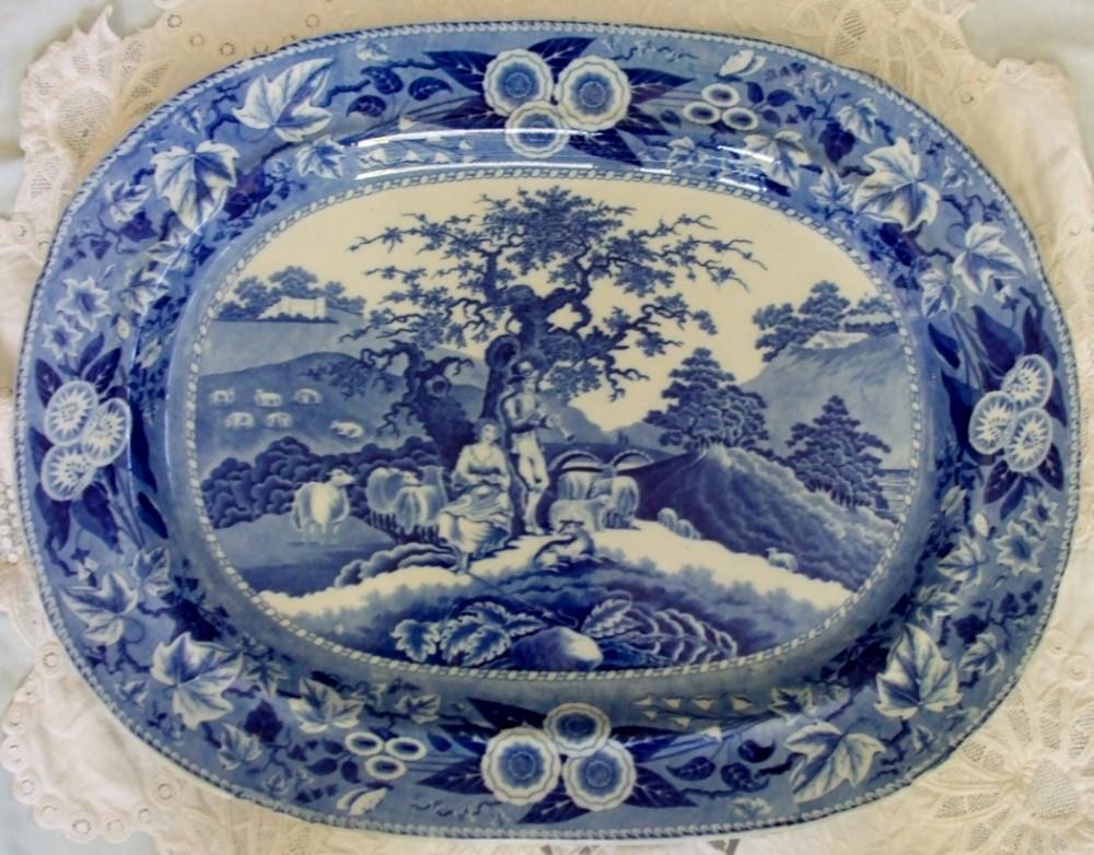 antique english georgian blue and white transfer piping shepherd pattern pottery serving dish platter