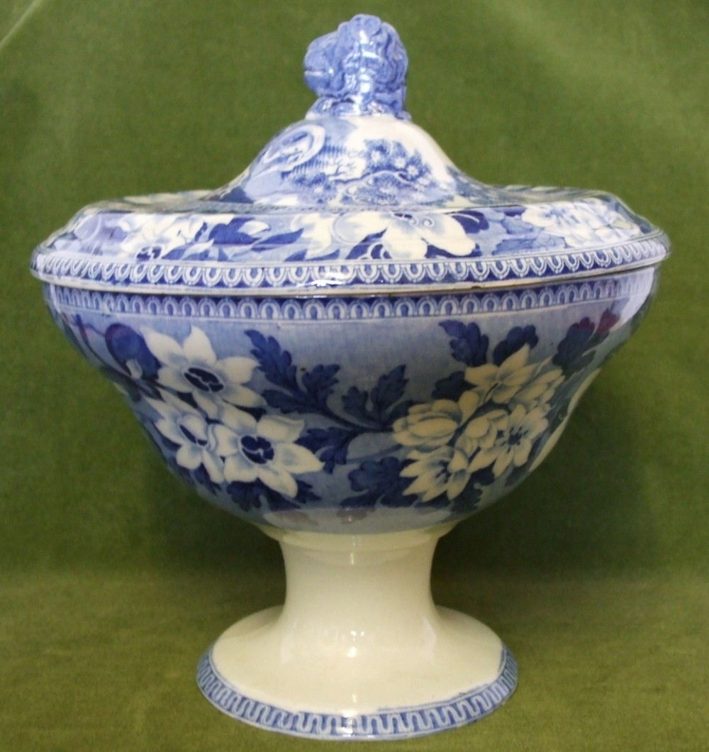 antique english georgian blue and white transfer elephant pattern pottery tureen and cover john rogers and son