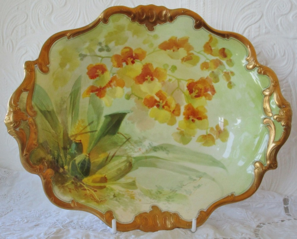antique english edwardian royal doulton porcelain cabinet dish oncidium forbesii orchids david dewsberry