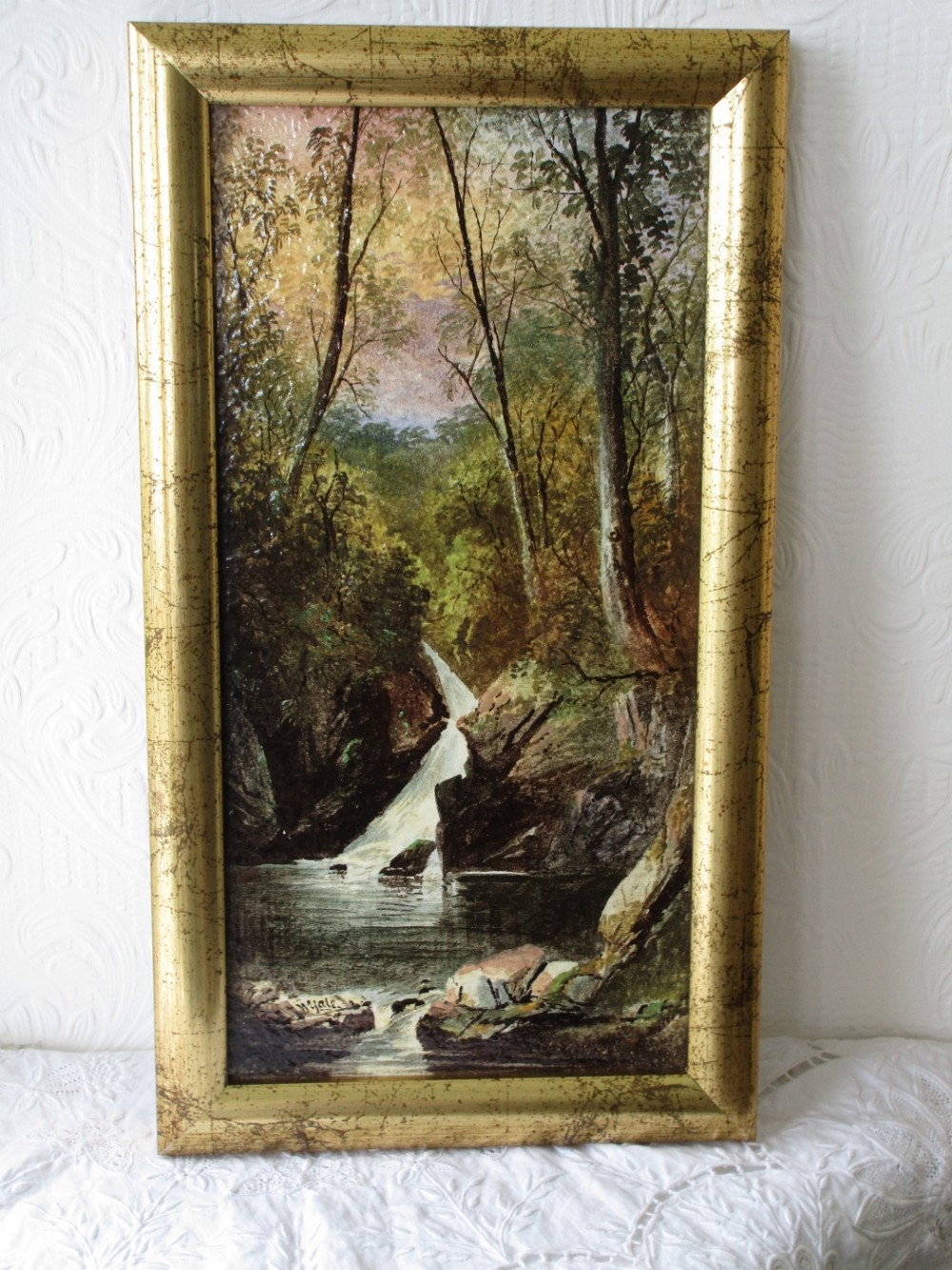 antique english victorian copeland ceramic plaque aira force ullswater decorated and signed by william yale of stoke