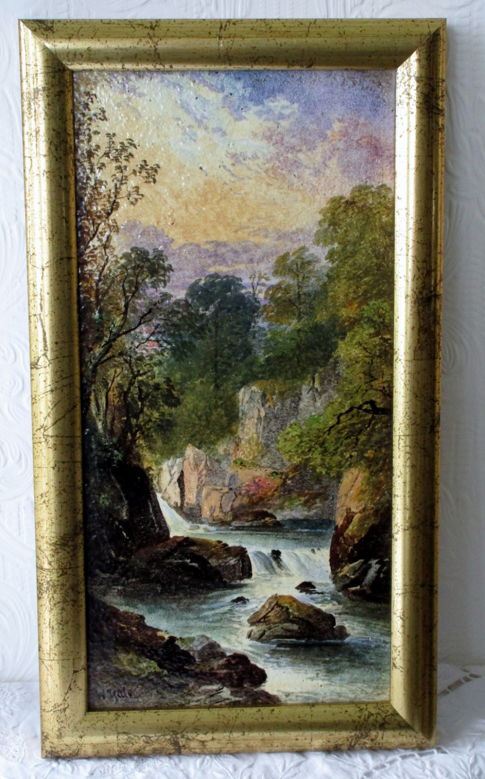 antique english victorian copeland ceramic plaque fairy glen betwsycoed decorated and signed by william yale of stoke