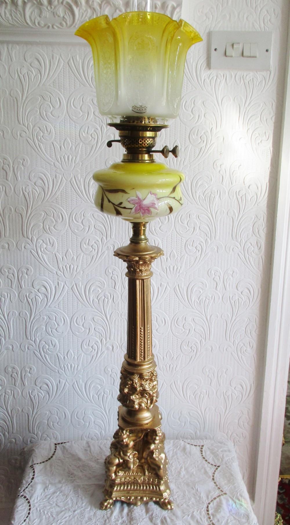 antique english victorian art nouveau cherubs oil lamp