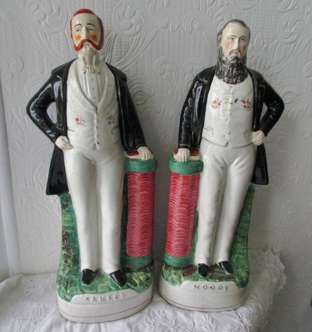 pair of antique english victorian staffordshire pottery portrait figures moody p d9 h 59 and sankey p d10 h 84