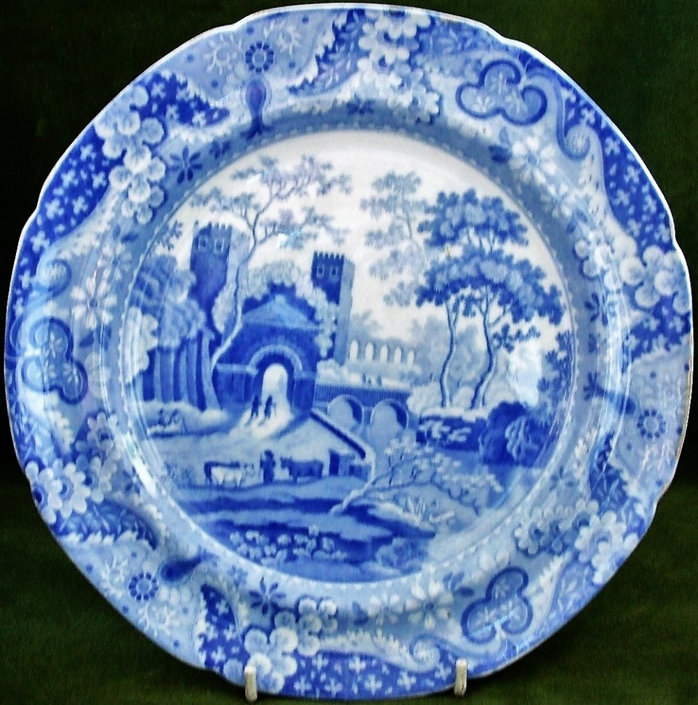 antique english georgian blue and white transfer spode castle pattern pottery plate