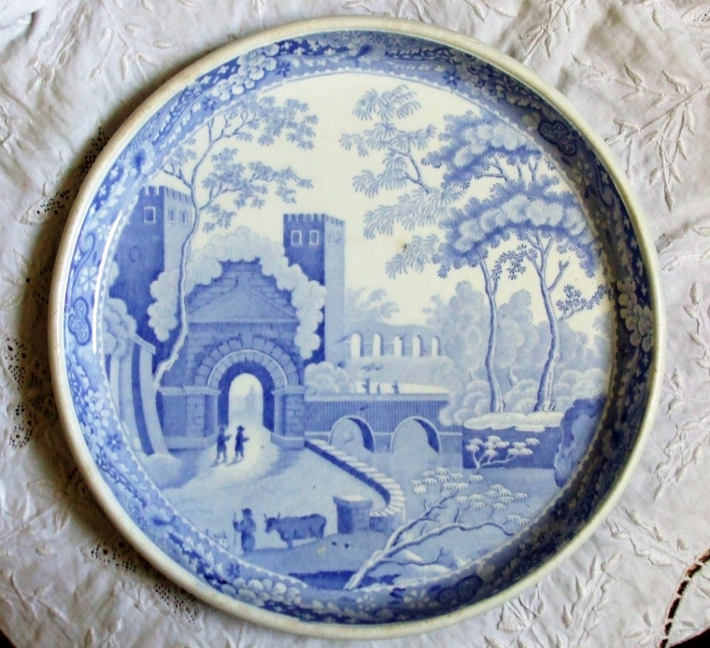 antique english georgian blue and white transfer spode castle pattern footed low circular pottery stand