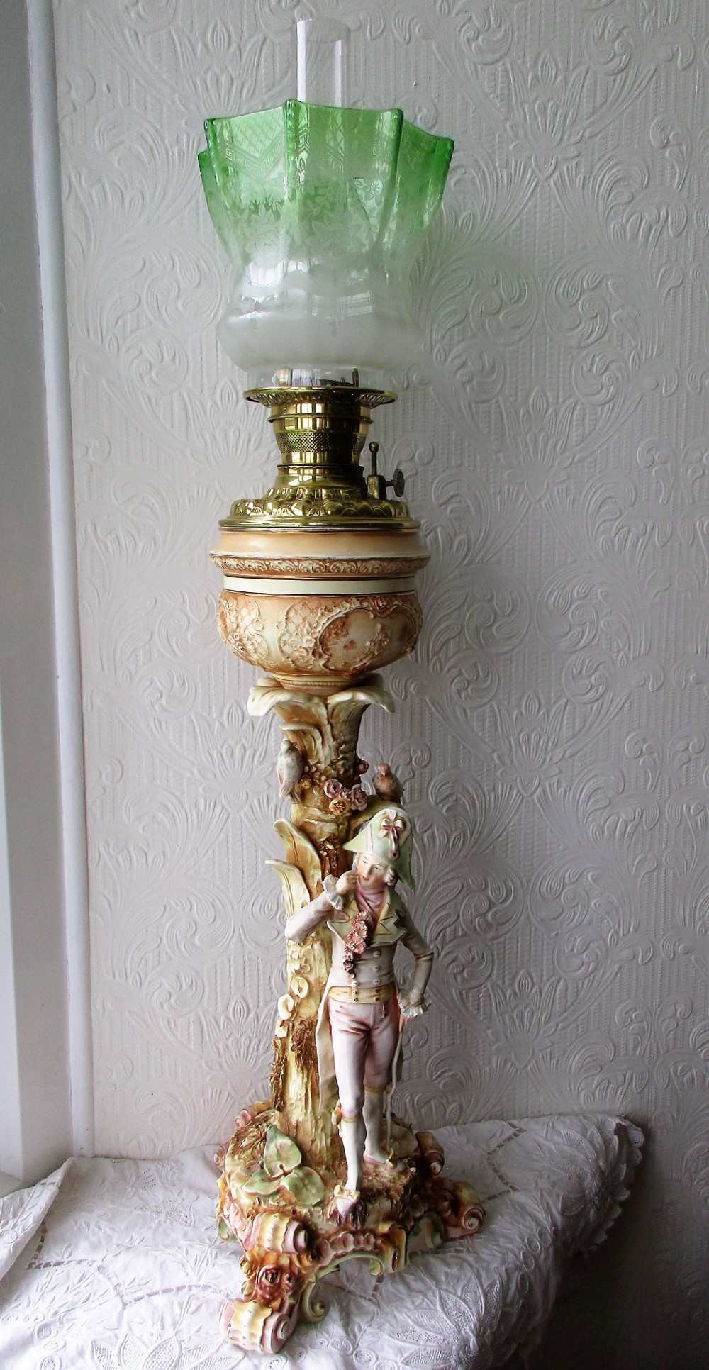 antique victorian angloamerican porcelain figural oil lamp