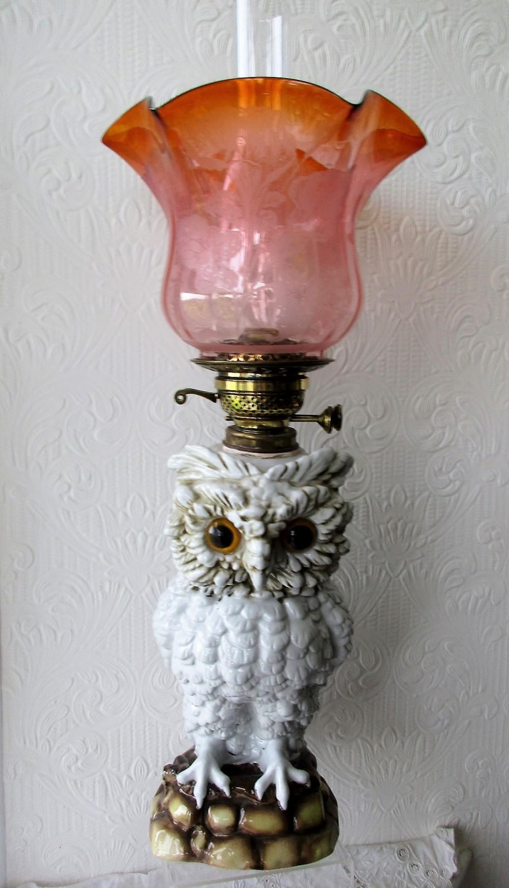 antique german victorian sitzendorf porcelain owl oil lamp