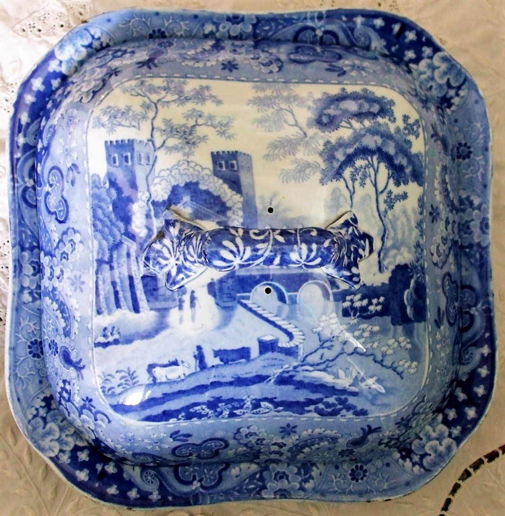 antique english georgian blue and white transfer castle pattern pottery vegetable dish and cover ralph and james clews of cobridge