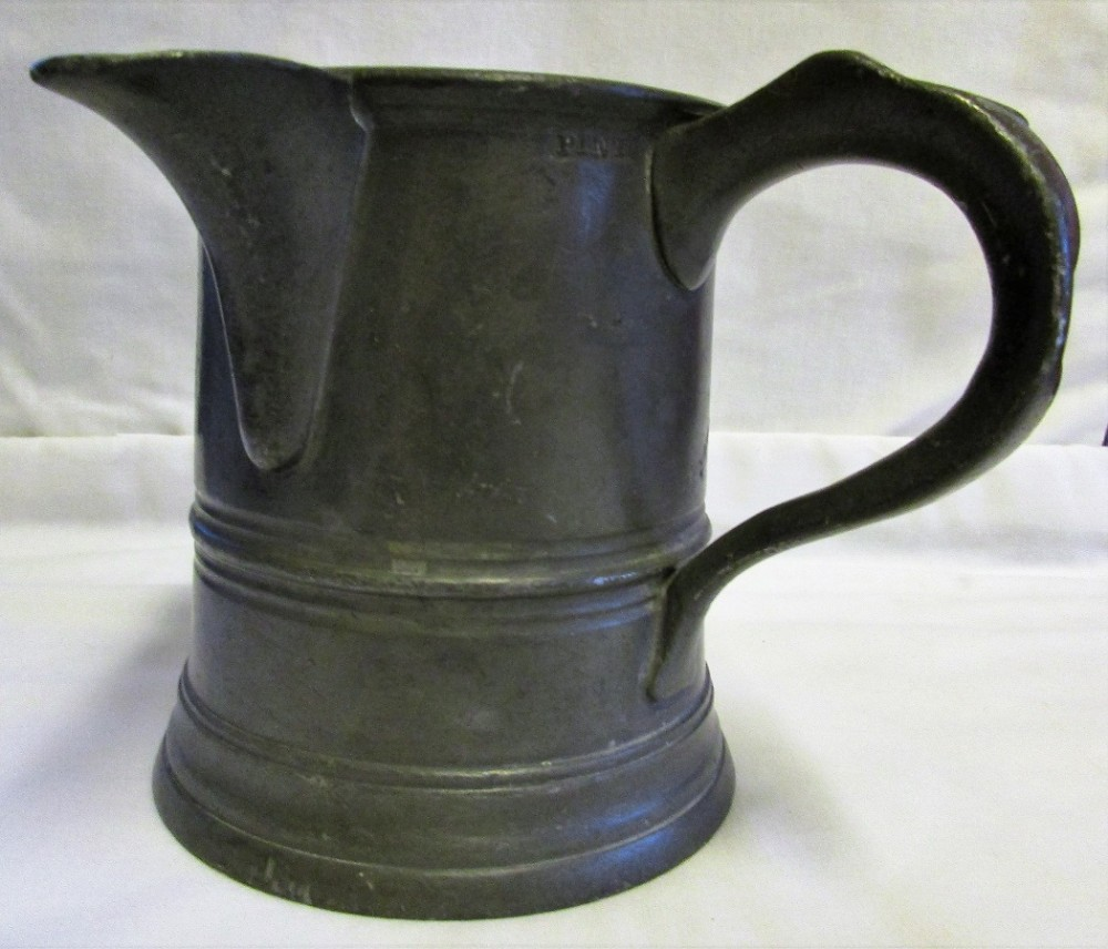 antique english victorian pewter pint tavern jug elephant castle tunbridge wells
