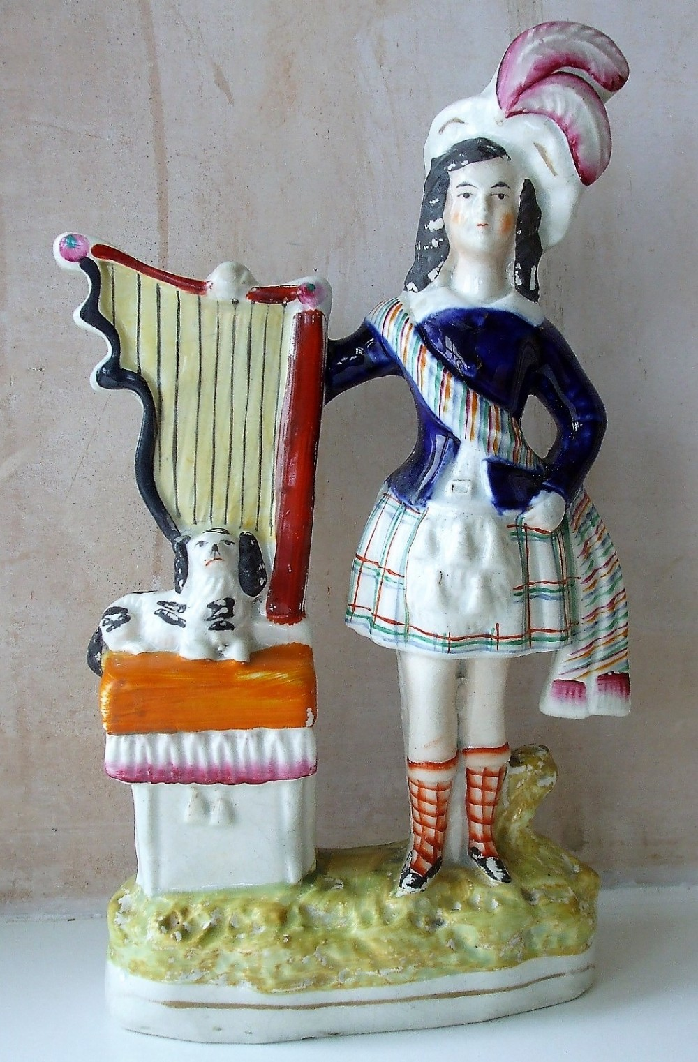 antique english victorian staffordshire pottery figure highland boy with his dog and harp h 1572