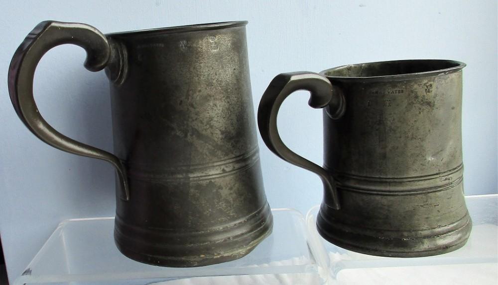 pair of antique english georgian pewter pint and quart mugs royal inn hanley james yates cotterell op 5338