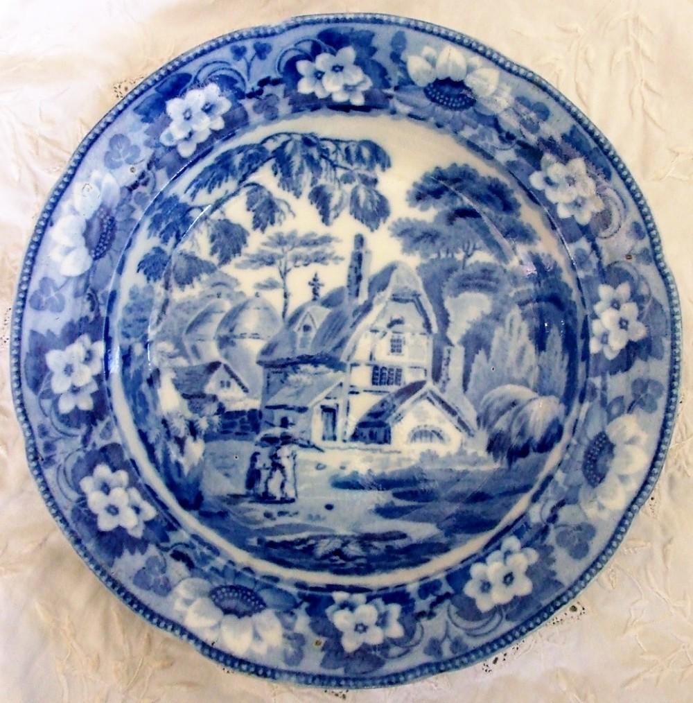 antique english georgian blue and white transfer rustic scenes series returning home pattern pearlware soup plate john davenport of longport