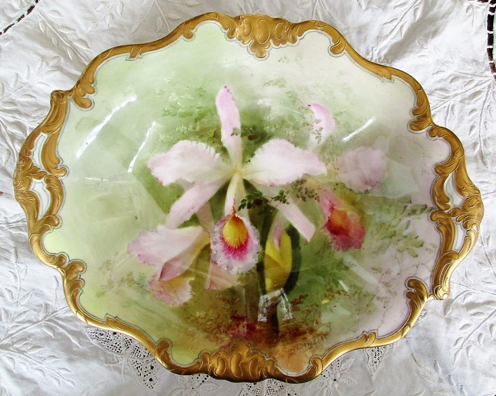 antique english edwardian royal doulton porcelain cabinet dish cattleya trianae orchids david dewsberry