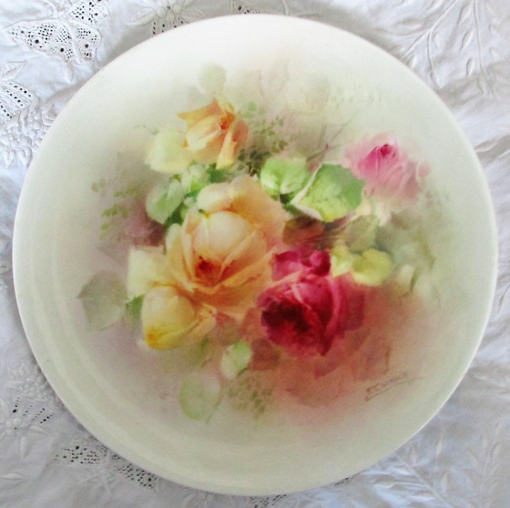 antique english royal doulton porcelain plate roses percy curnock
