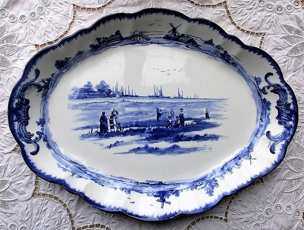 antique english victorian doulton burslem blue and white transfer norfolk pattern pottery serving dish