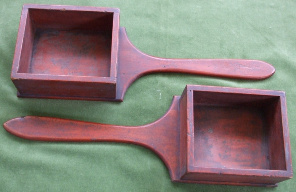 pair of antique welsh victorian pine alms dishes