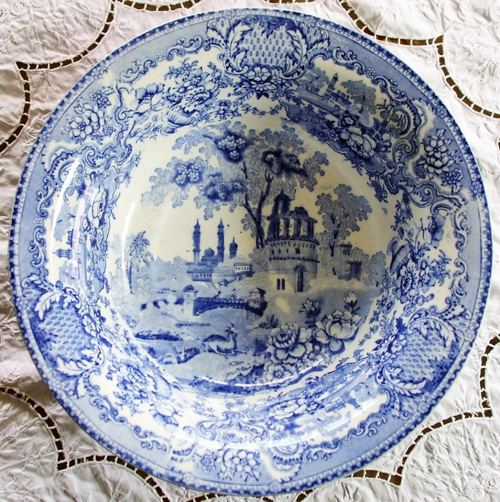 antique english georgian blue and white transfer indian temple pattern pottery toilet basin elkin knight bridgwood