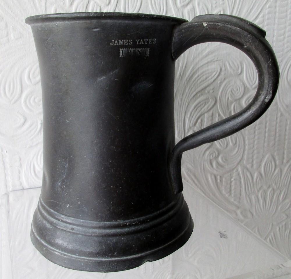 antique english georgian pewter pint concave mug james yates cotterell op 5338