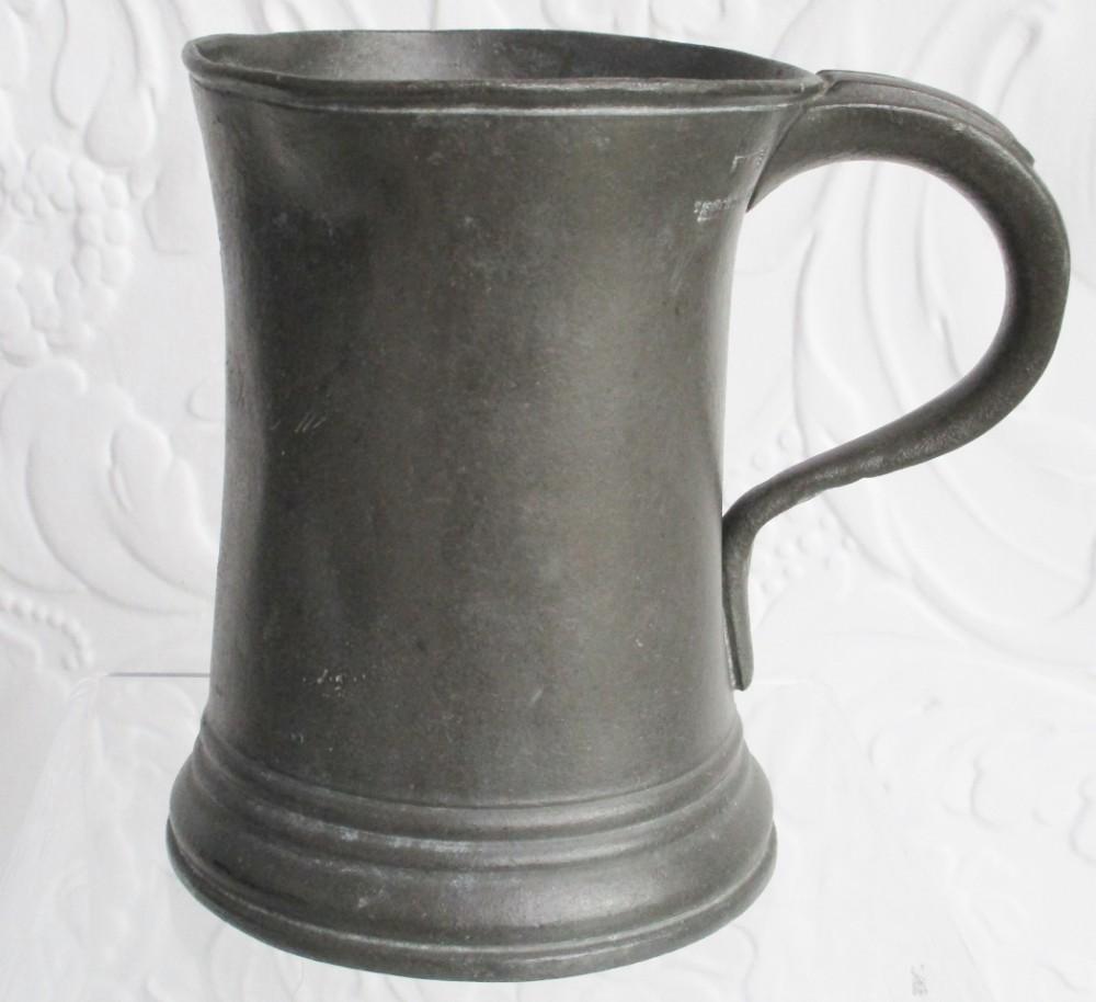 antique english georgian pewter pint concave mug yates birch cotterell op 5347
