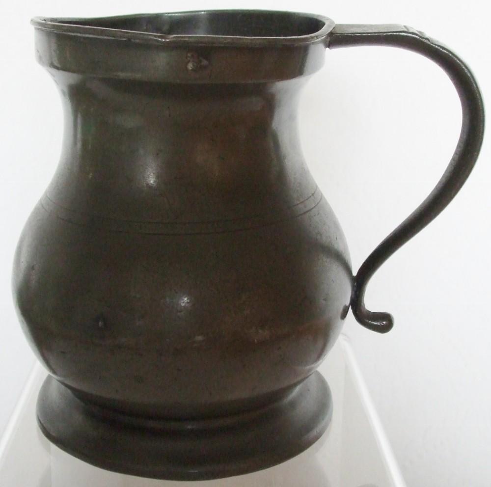 antique english georgian pewter quart baluster measure