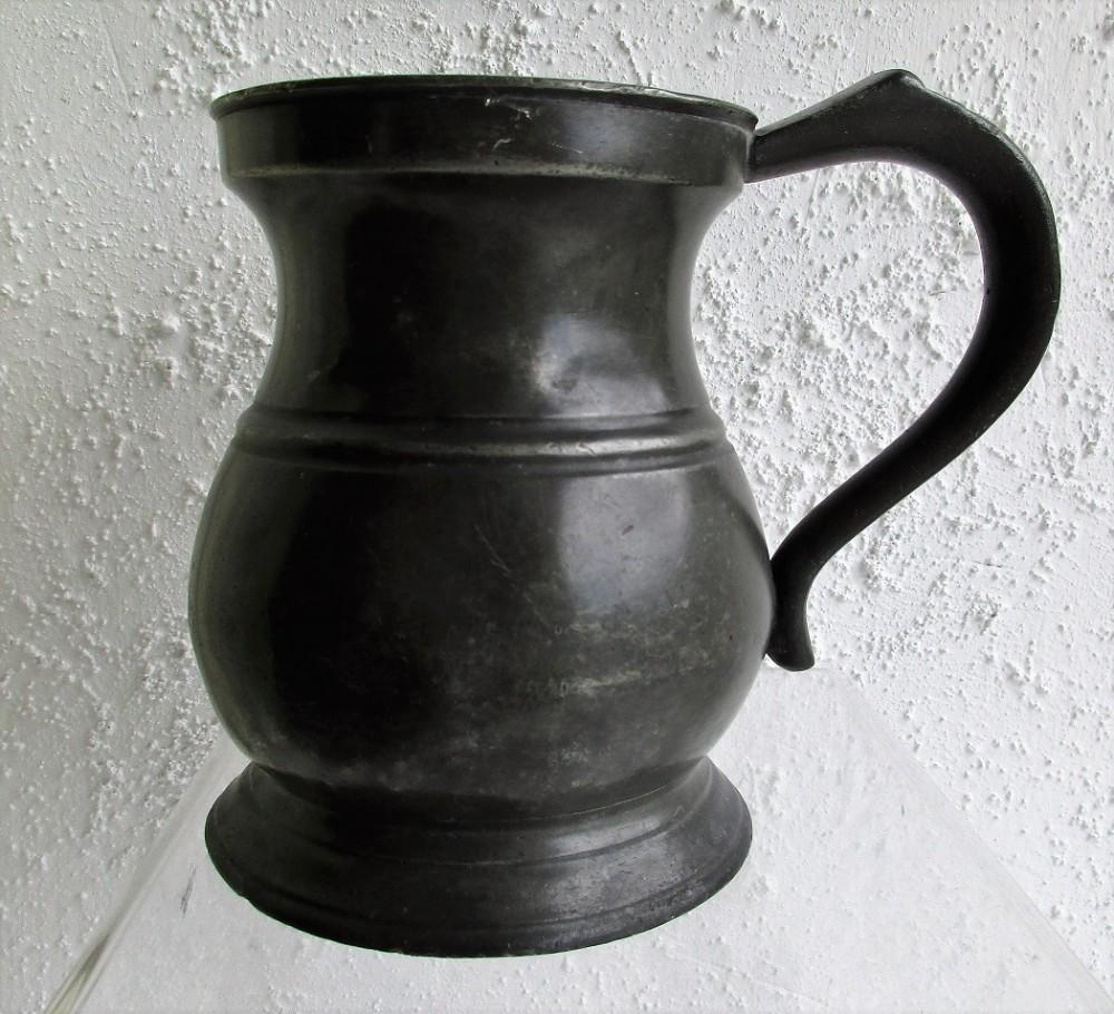 antique english georgian pewter pint baluster measure