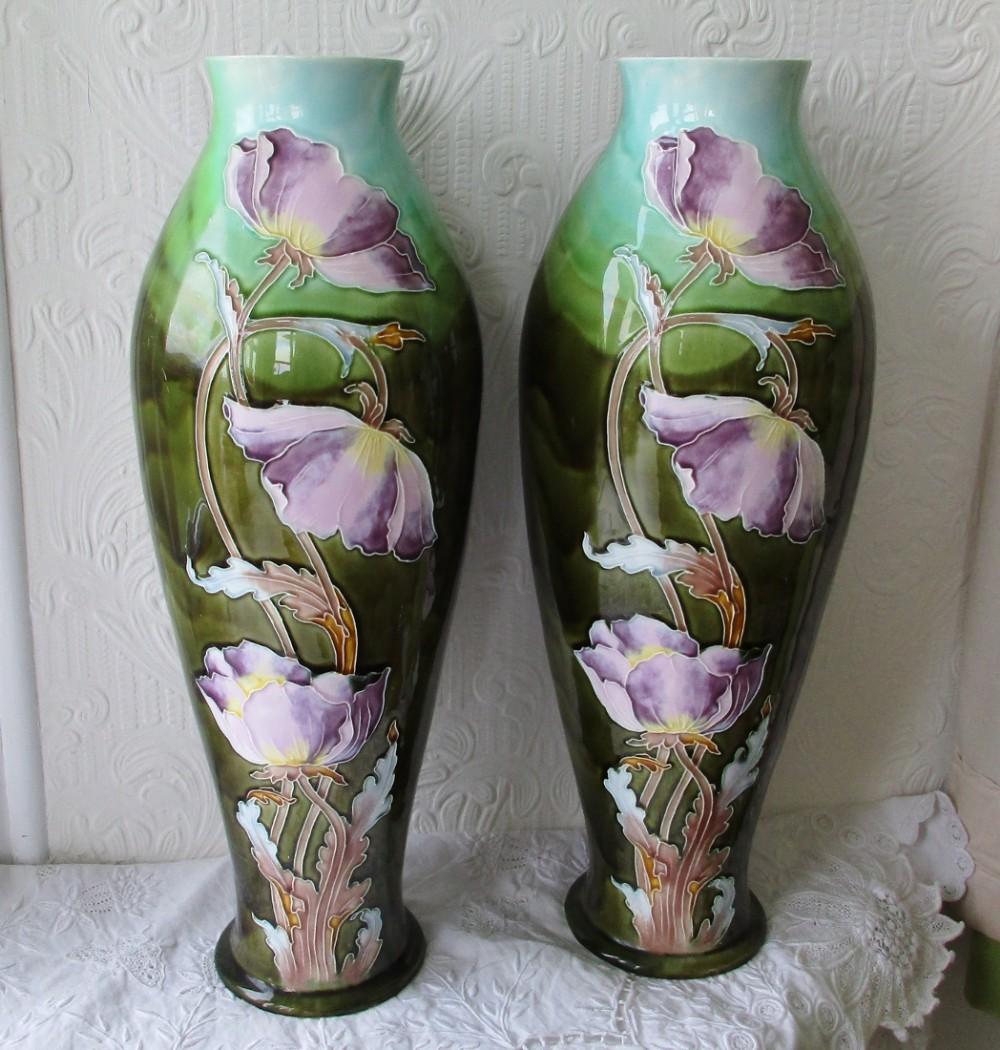 pair of antique french faience art nouveau vases