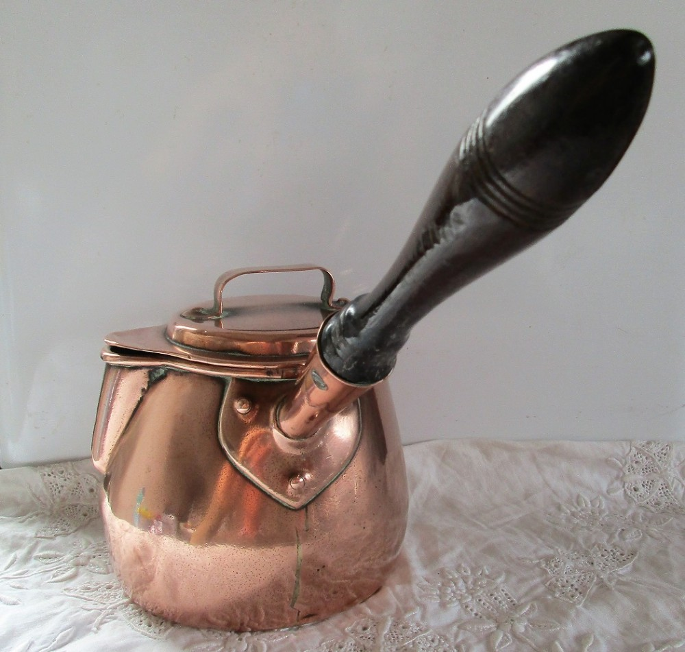 antique english georgian copper brandy warming pan and cover
