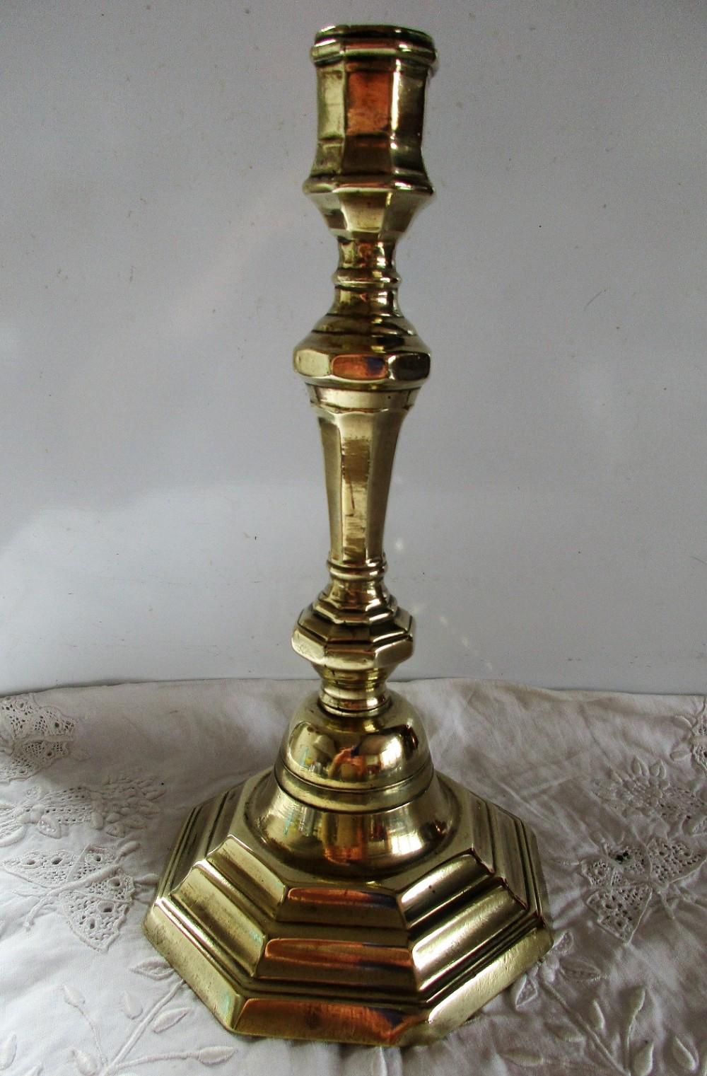 antique english georgian brass candlestick