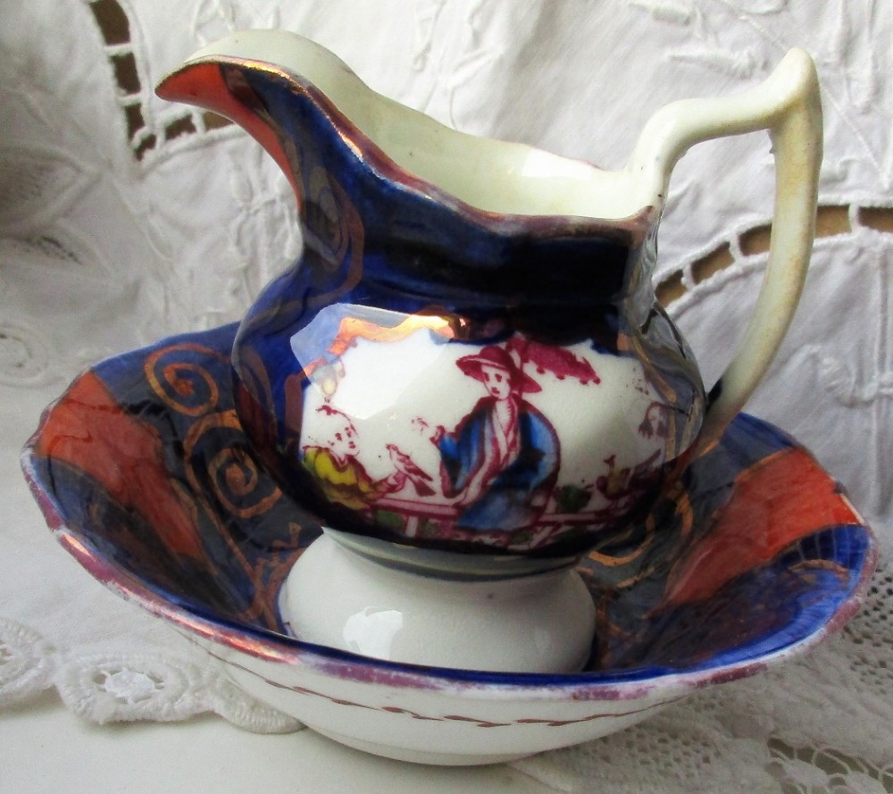 antique victorian gaudy welsh chinoiserie pattern miniature ewer and basin