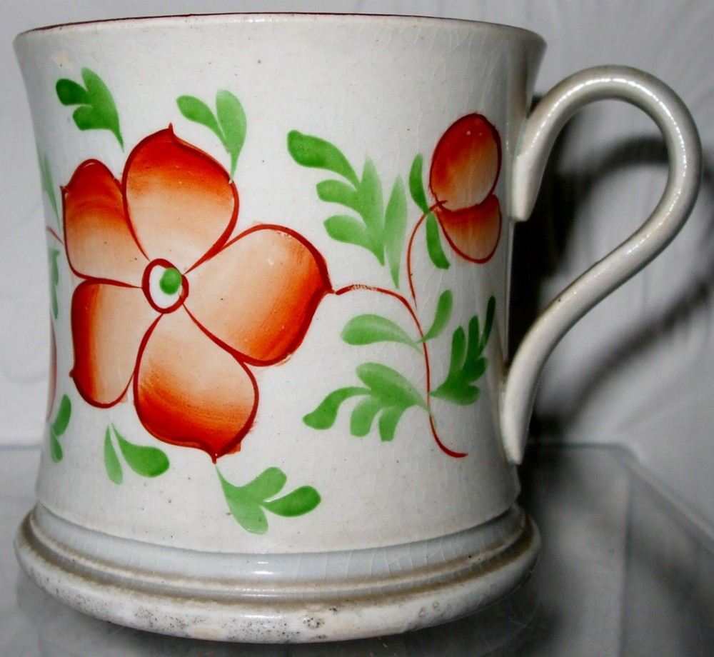 antique victorian gaudy welsh wallflower pattern pottery mug