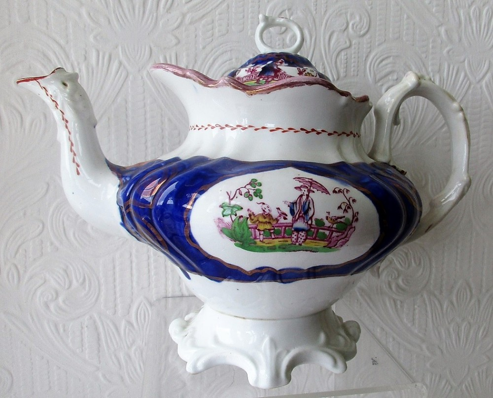 antique victorian gaudy welsh chinoiserie pattern porcelain teapot