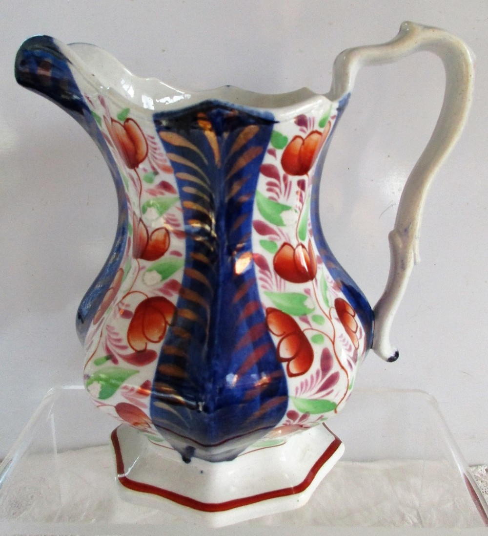 antique victorian gaudy welsh conwy pattern pottery jug