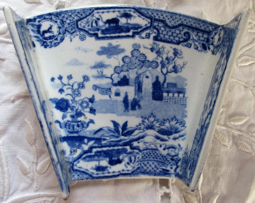 antique english georgian blue and white transfer pottery asparagus server