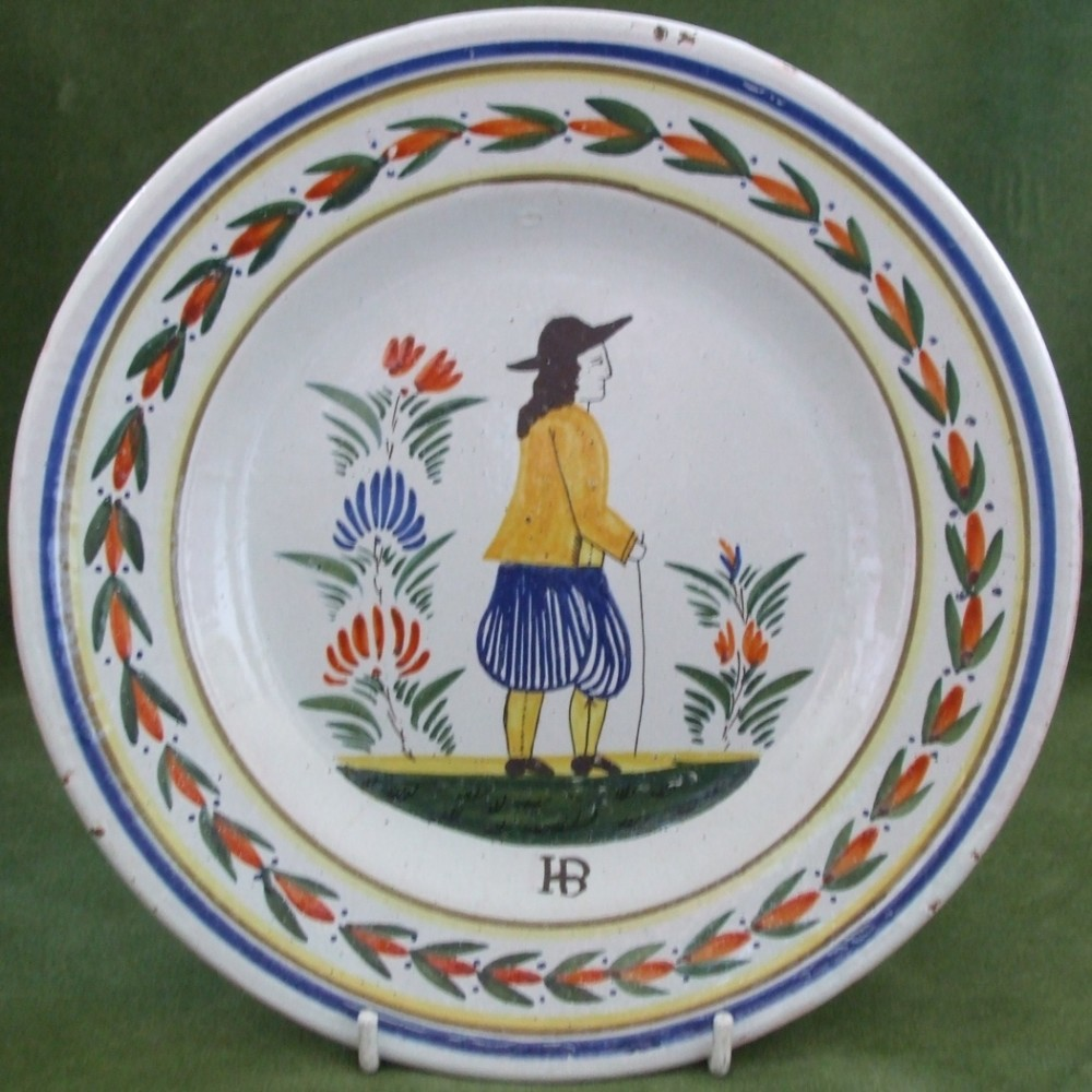 antique hb quimper french faience plate