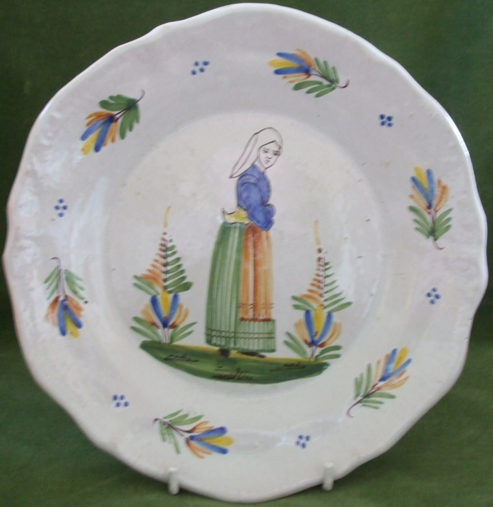 antique hr quimper french faience indented plate