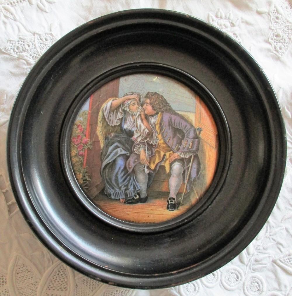 antique english victorian prattware potlid uncle toby ball no 328