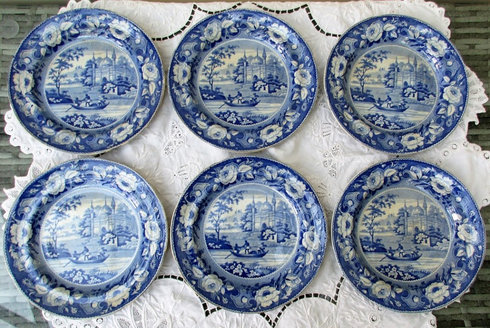 set of six antique english georgian davenport blue and white transfer mosque and fishermen pattern pottery plates