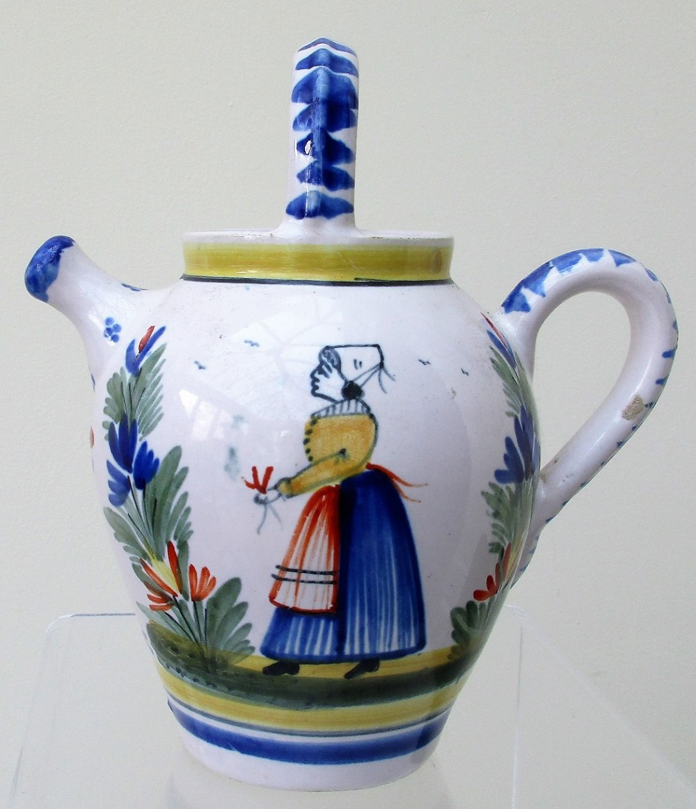antique hr quimper french faience biberon cider jug