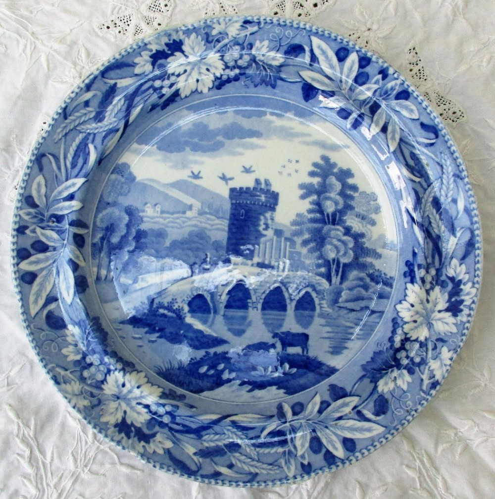 antique english georgian blue and white transfer bridge of lucano italy pattern pottery plate