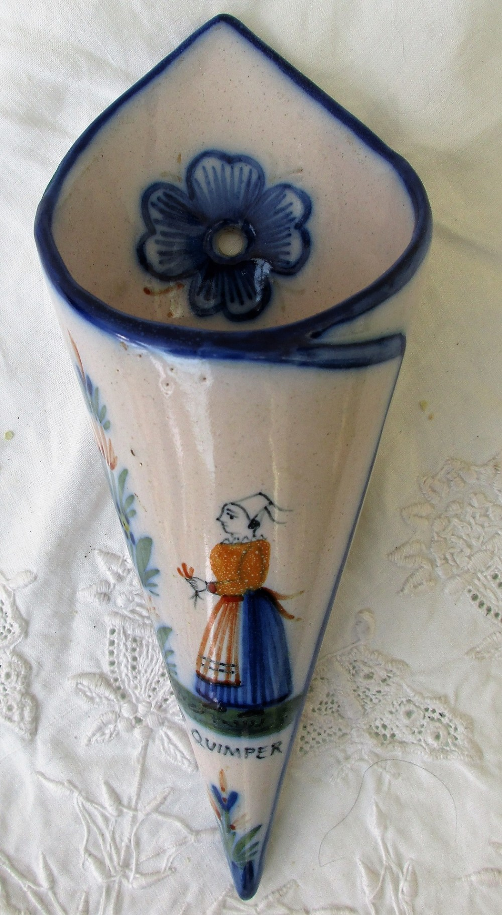 antique hr quimper french faience cornet wall pocket