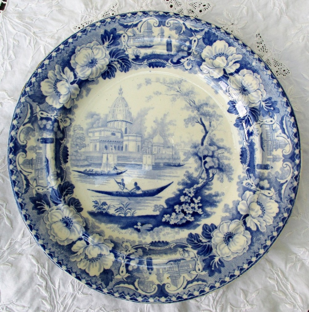 antique english georgian blue and white transfer surseya ghaut khanpore pattern pottery plate oriental scenery cartouche series