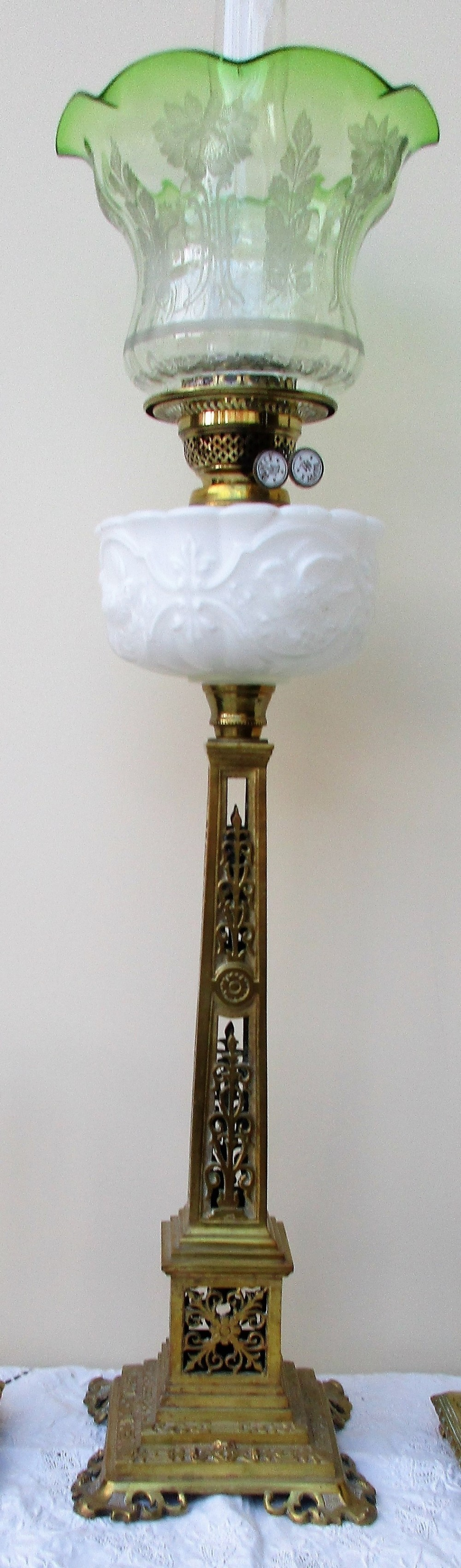 antique anglo french belle poque cast brass column oil lamp