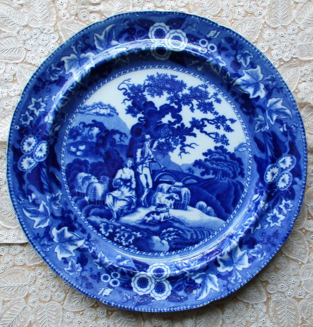 antique english georgian blue and white transfer piping shepherd pottery plate