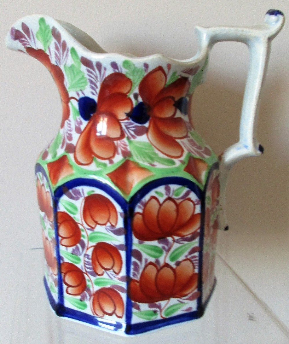 antique victorian gaudy welsh gwent pattern pottery jug