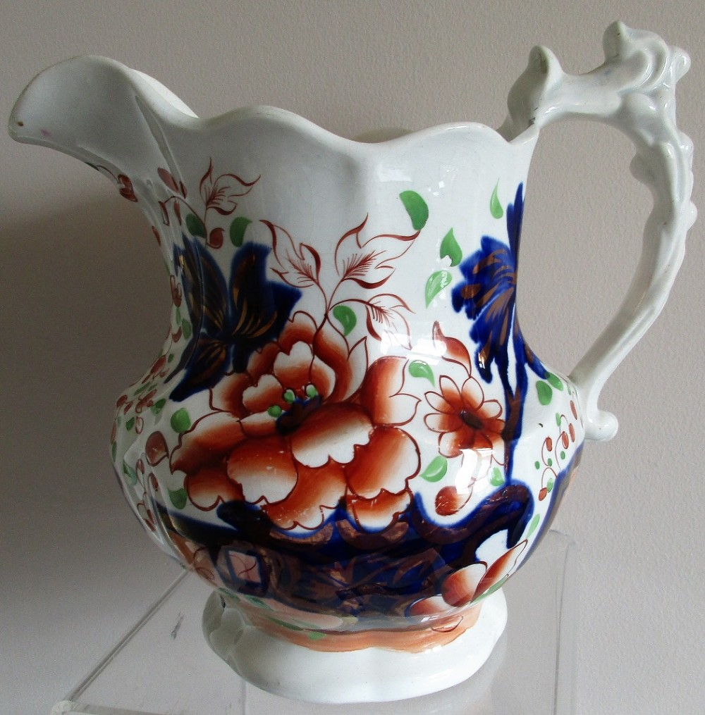 antique victorian gaudy welsh barmouth pattern pottery jug