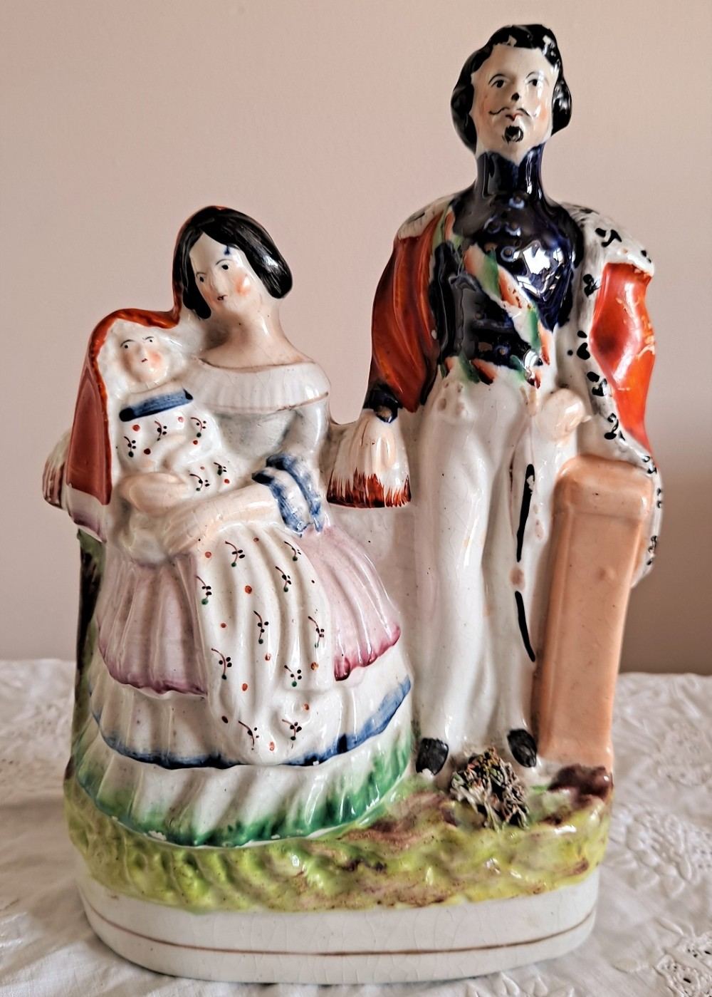 antique english victorian staffordshire pottery royal portrait figure group napoleon iii empress eugenie and the prince imperial p c81 h 747